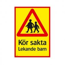 Trafikskyltar | Kör sakta Lekande barn