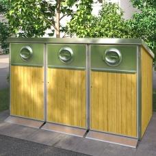 Sopkärl & Kärlskåp | Kärlskåp i trä 3 x 370L