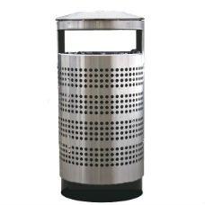Papperskorg med askkopp | Papperskorg Tiffany 70L i rostfritt stål med perforering, utan eller med askkopp