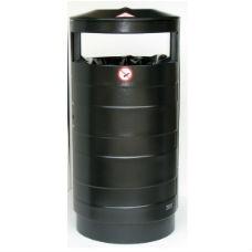 Papperskorg med askkopp | Papperskorg Tiffany 70L i svart plåt med-utan askkopp
