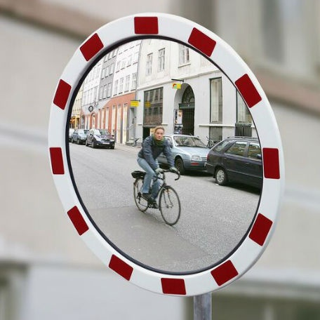 Trafikspeglar | Rund trafikspegel 80 cm i polykarbonat med reflexer (vandalresistent)