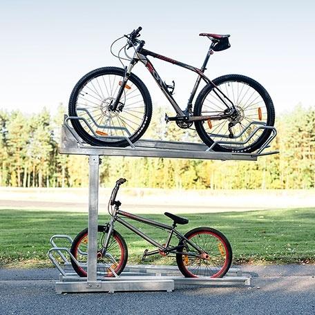 Tvåvånings Cykelställ | 2-vånings cykelställ Tornet Solid med utdragbar skena