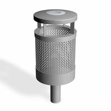 Papperskorg med askkopp | Papperskorg Vidar 55L m. askkopp för platsgjutning