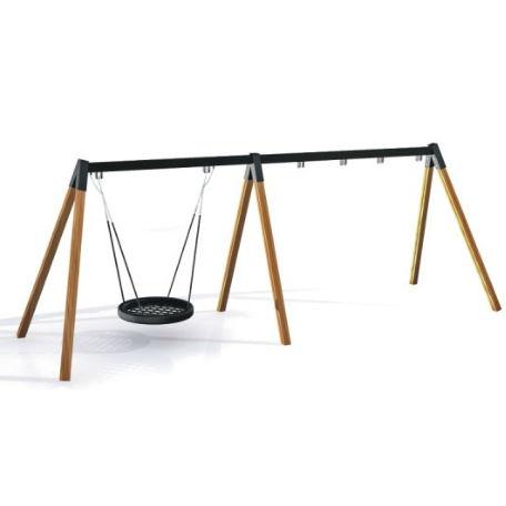 Gungställning | Gungställning Trä 2 platser & fågelbogunga 90 cm
