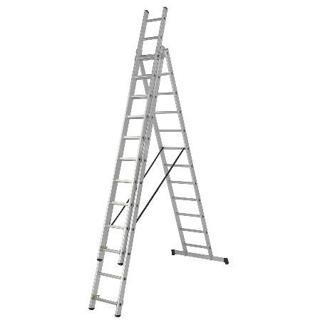Stegar & Ställningar | Kombistege Proffs 3-delad, 6 till 9,7 Meter, inklusive stegfot