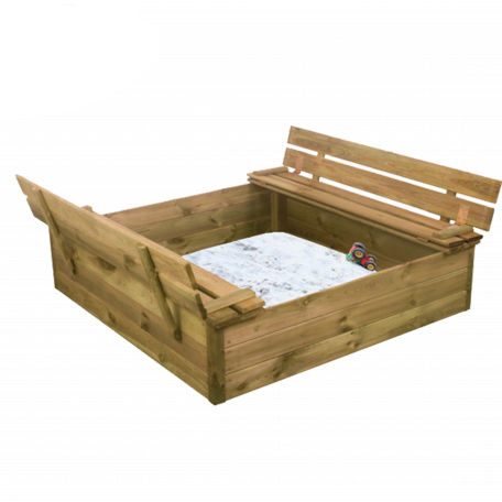 Sandlådor | Sandlåda 120X120 cm med vipplock och Bänk