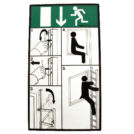 Räddningsstegar | Instruktionsskylt utrymningsstege fällbar