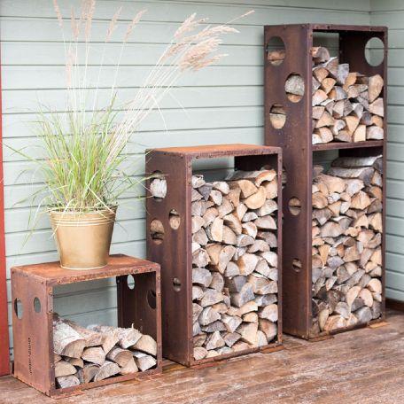 Eldstäder | Vedförvaring WoodStock 3 st i Corten