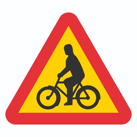Varningsskyltar | Varning för cyklande och mopedförare