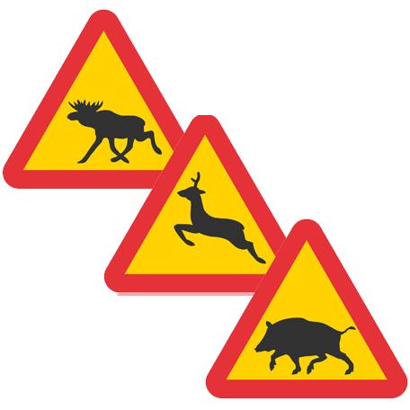 Varningsskyltar | Varning för djur, flera olika motiv