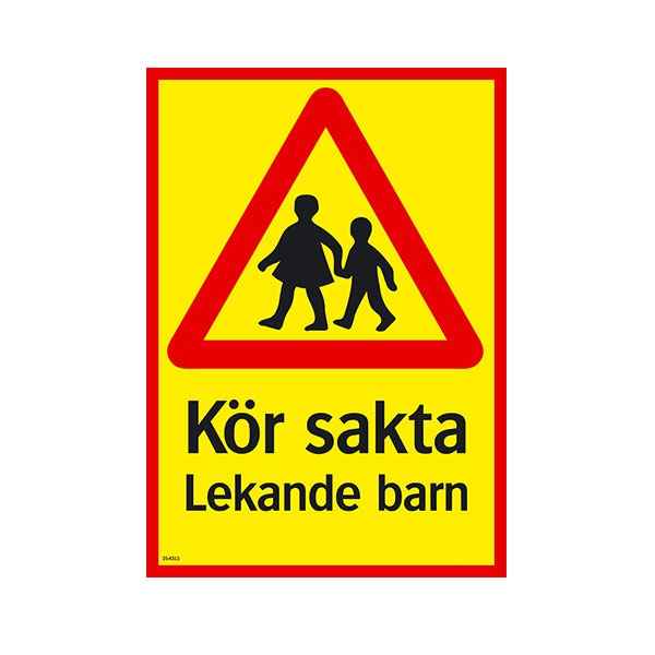 Varningsskyltar | Kör sakta Lekande barn
