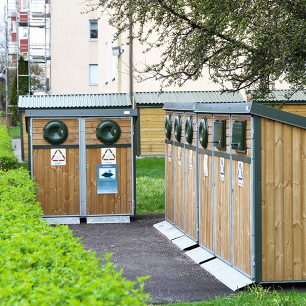 Sopkärl & Kärlskåp | Kärlskåp i trä 4 x 370L