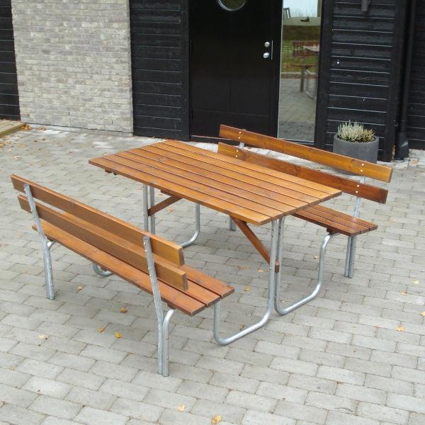 Picknickbord & Parkbord | Steel Picknickbord 150 cm 6 pers Brun