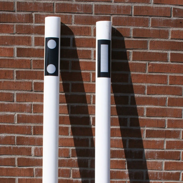 Kantstolpar | Kantstolpe oval  vita reflexer på 2 sidor