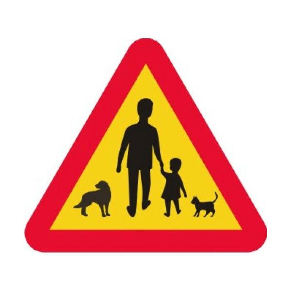 Trafikskyltar   Varningsskylt - djur, barn och vuxna