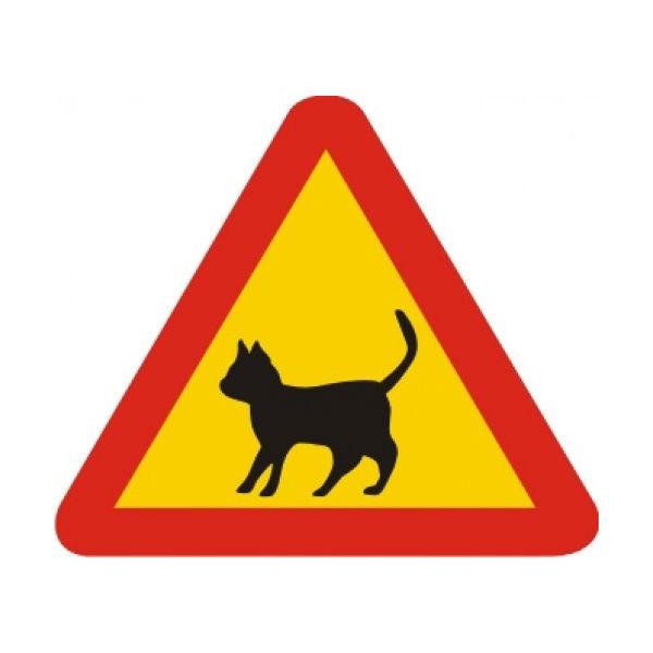 Trafikskyltar | Varningsskylt - katt
