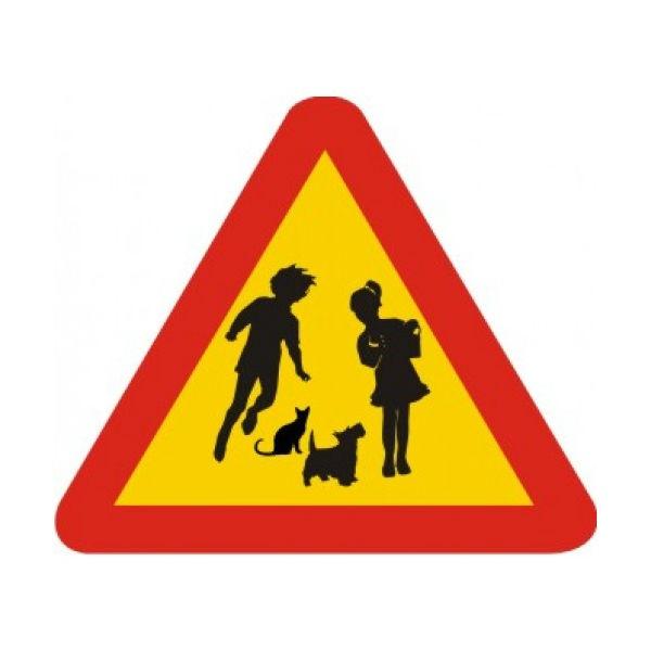 Trafikskyltar | Varningsskylt - vilda barn och tama djur