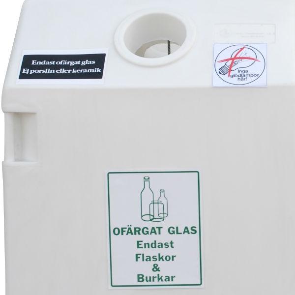 Avfallsskåp | Behållare för glasåtervinning 0,8 m3 ofärgat glas