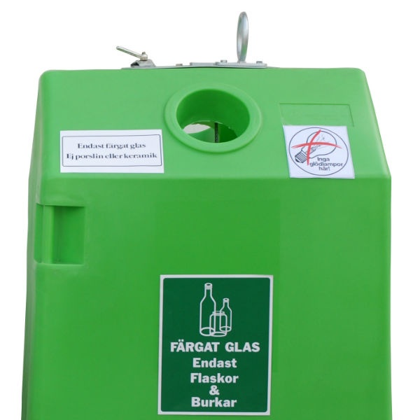 Avfallsskåp | Behållare för glasåtervinning 0,8 m3 färgat glas