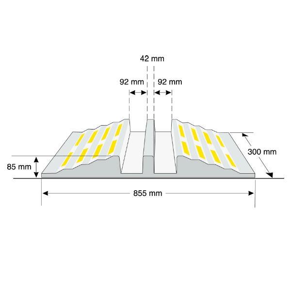 Kabelbryggor | Slangbrygga, svart med gula reflexer