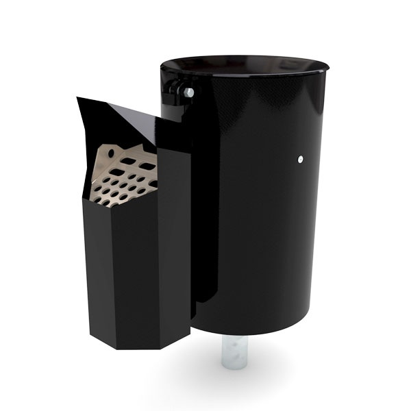Papperskorgar | Papperskorg Poppel med Askkopp Asken, Svart