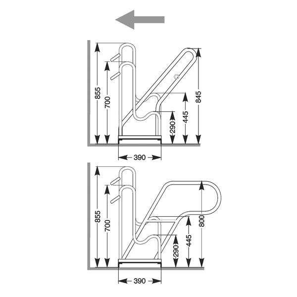 Cykelställ | Cykelställ 4500 - 35 cm mellanrum