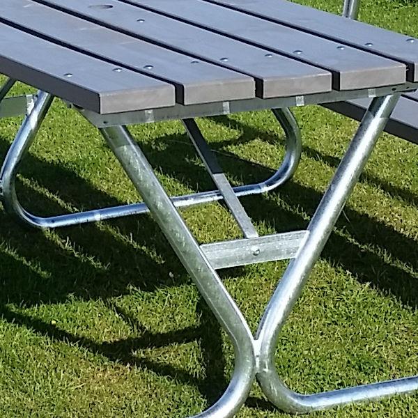 Picknickbord & Parkbord | Robust Picknickbord med ryggstöd i grått