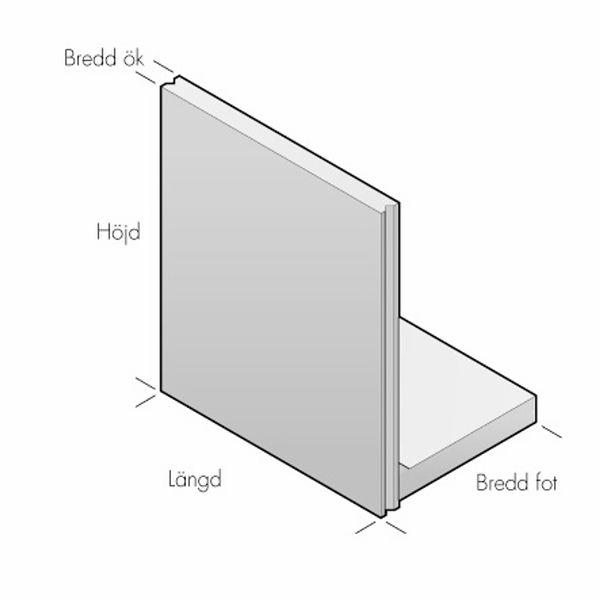 Stödmurar & L-stöd | L-stöd slät, längd 2000 mm, not-not 20kN