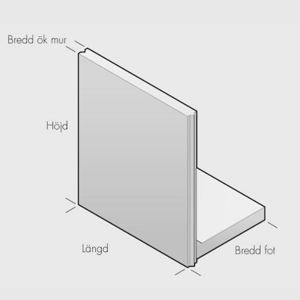 Stödmurar & L-stöd | L-stöd, längd 2000mm, not-fjäder 5 kN