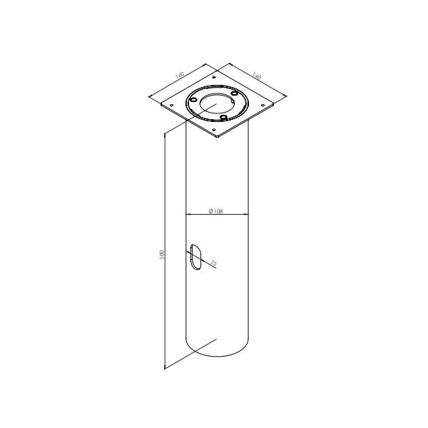 Ljuspollare | Adapter för betongfundament. Längd 60 cm