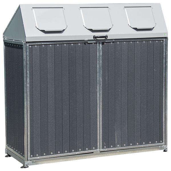 Säckhållare | Säckskåp med 3 inkasttoppar kompositpanel