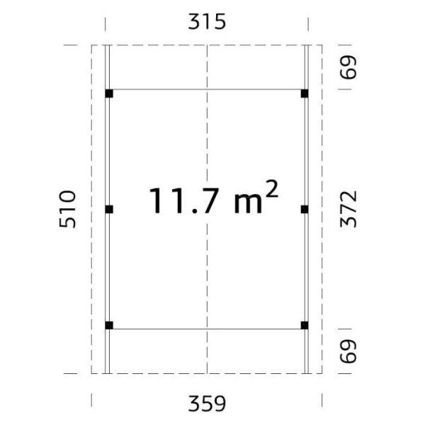Carportar | Carport med sadeltak 11,7 m2