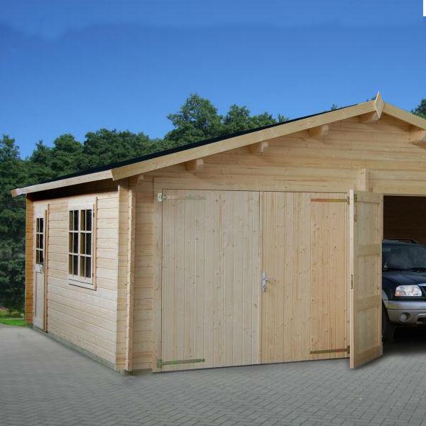 Garage & Utehus | Dubbelgarage 28,4 m2 med portar av trä