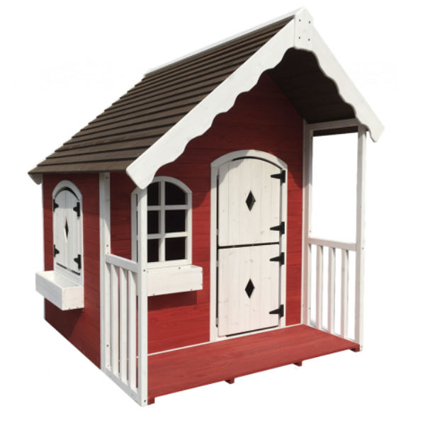 Lekstugor | Lekstuga Målad vit-röd med veranda