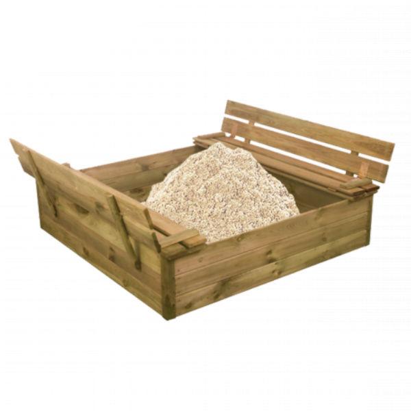 Sandlådor | Sandlåda 120X120 cm med vipplock, bänk och sand