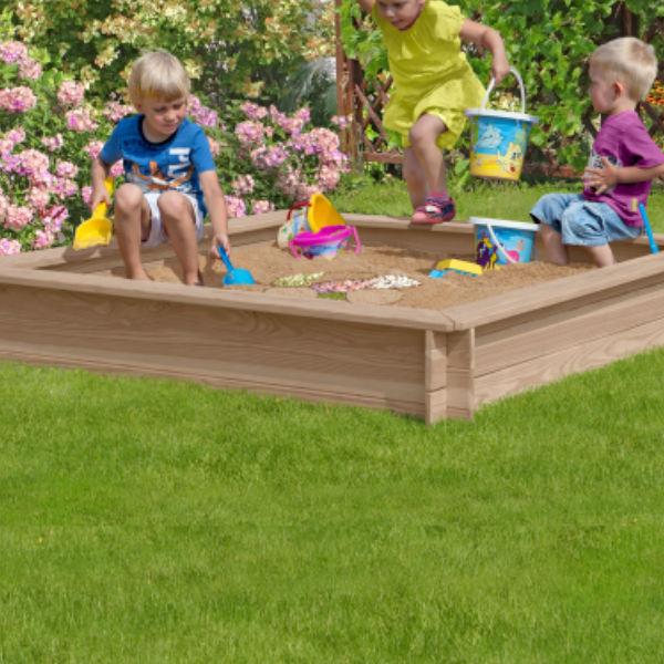 Sandlådor | Sandlåda lärkträ 150 x 150 cm inkl sand