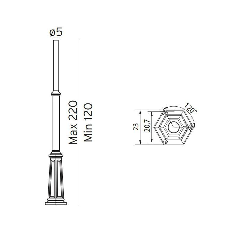 Belysningsstolpar | Klassisk Teleskopstolpe - 1,2 - 2,2 m