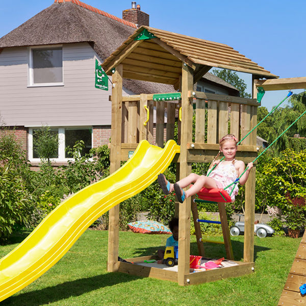 Lekställningar | Jungle Gym Cottage lektorn med klättermodul och 1 gunga