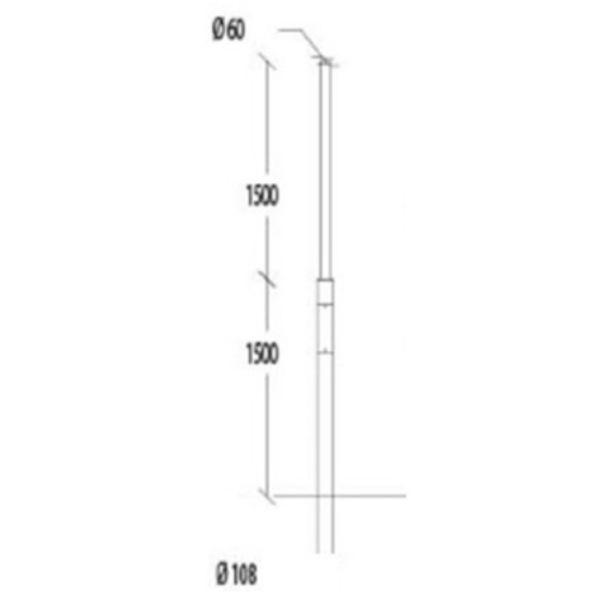 Belysningsstolpar | Galvaniserad stålstolpe 3-4,5M