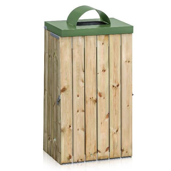 Säckhållare | Säckhållare 125L Träpanel med Inkasthål