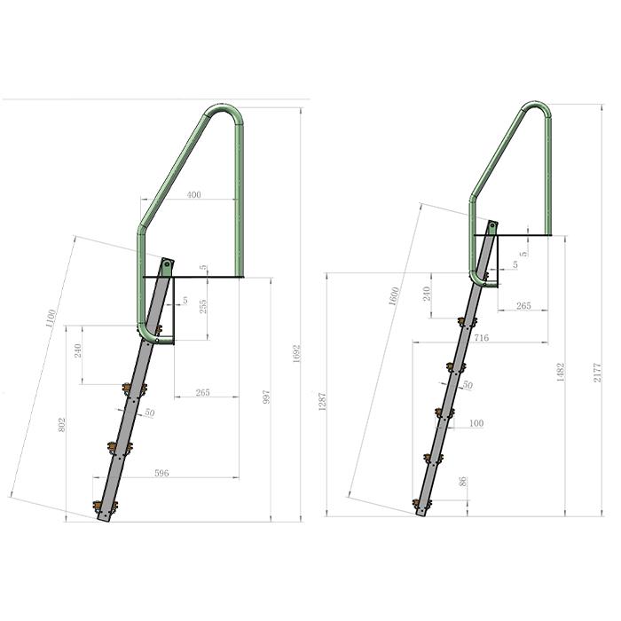 Bryggstegar | Bryggstege med fällbara steg i Aluminium